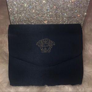 Versace bag clutch Medusa gold blue cosmetic case